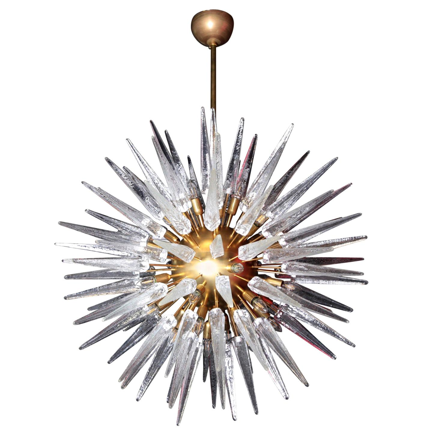Very Huge and Impressive Murano Glass and Brass Chandelier