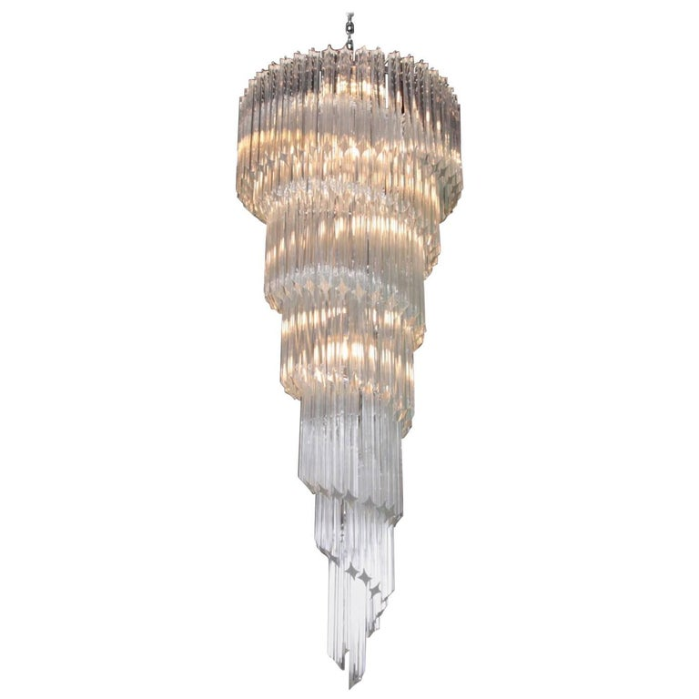 Murano Spiral Chandelier: Very Huge Murano Glass Spiral Chandelier In The Manner Of