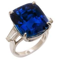 27.48 Ct Unheated Burmese Sapphire Ring by Oscar Heyman Brothers