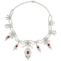 Very Important 5.53 Carat Ruby and Diamond Necklace