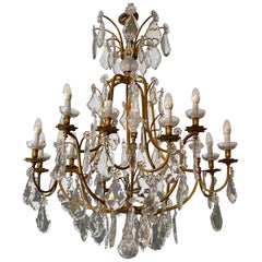 Very Important Bronze Cage Chandelier with Louis XVI Style Pendants