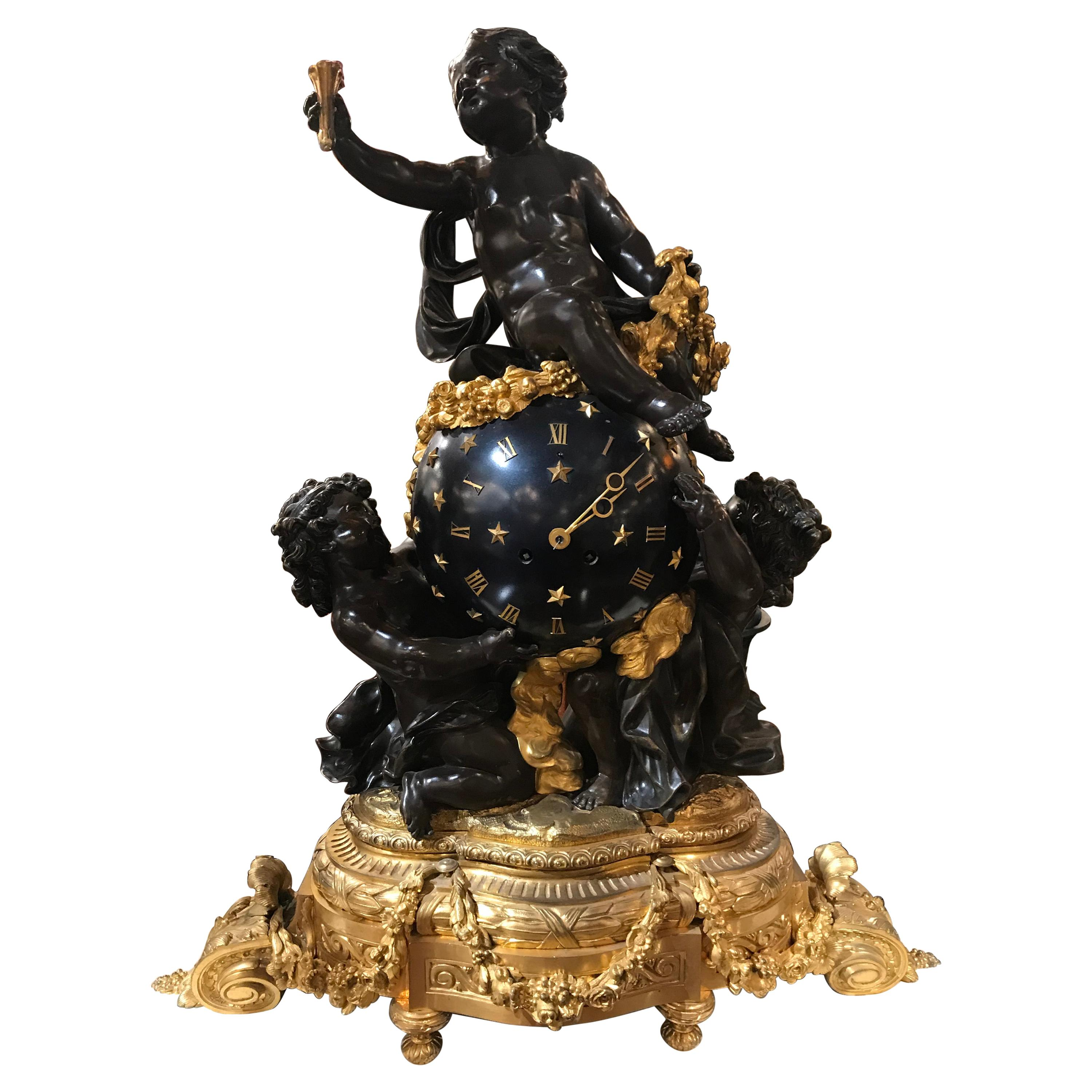 Very Important Gilt Bronze, Enameled Bronze and Patinated Bronze Clock