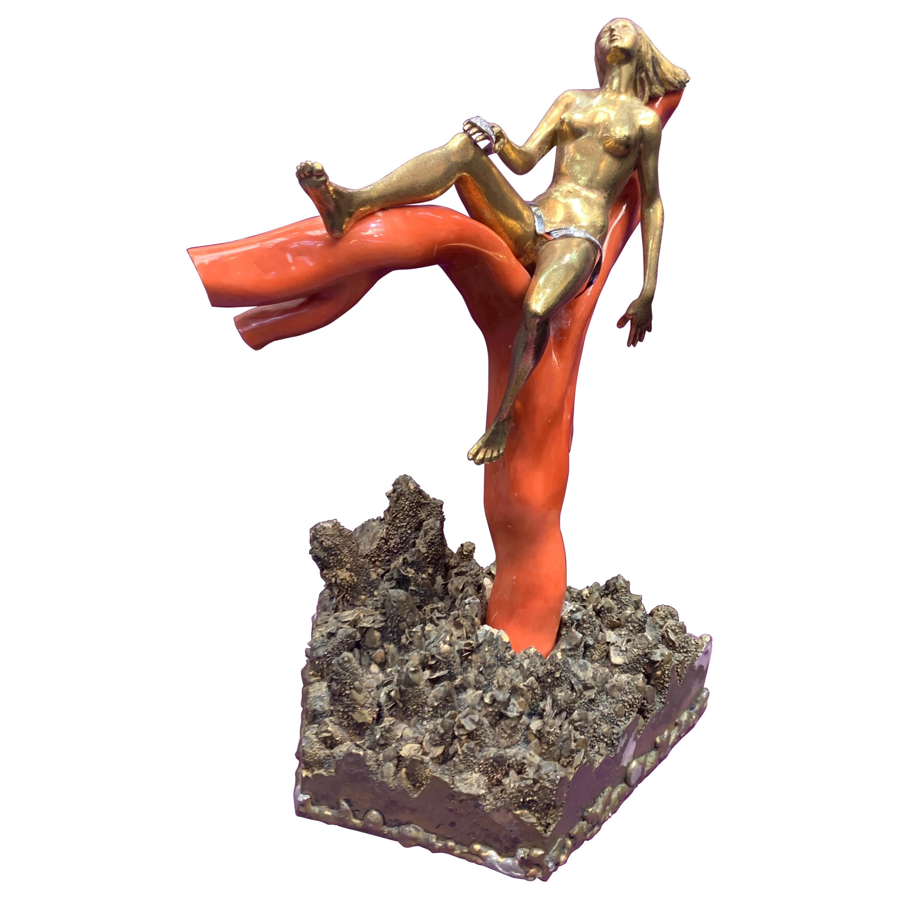 Romolo Grassi Gold Coral Resting Lady Object