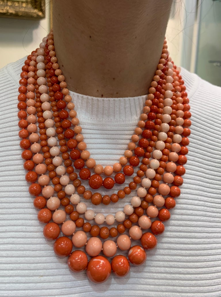 Very Important Seven-Strand Coral Bead Necklace In New Condition For Sale In New York, NY