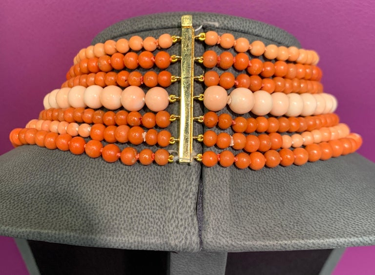 Women's or Men's Very Important Seven-Strand Coral Bead Necklace For Sale