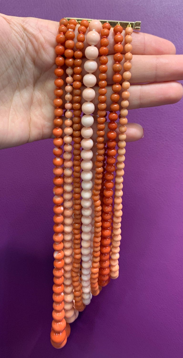Very Important Seven-Strand Coral Bead Necklace For Sale 3