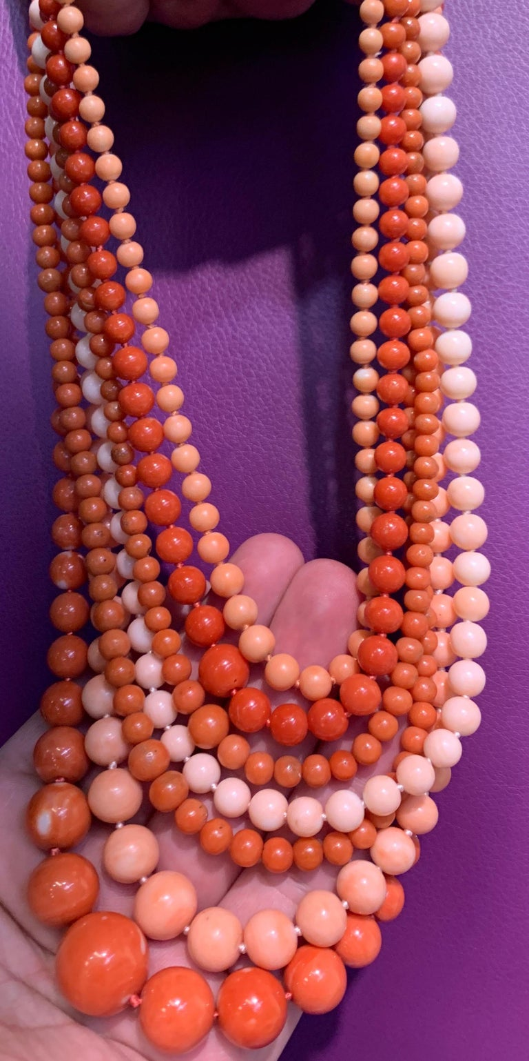 Very Important Seven-Strand Coral Bead Necklace For Sale 4