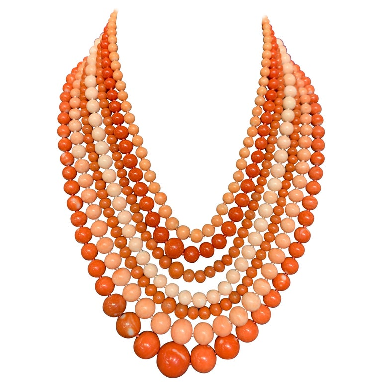 Very Important Seven-Strand Coral Bead Necklace For Sale