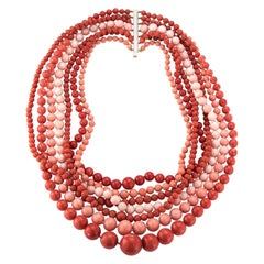 Very Important Seven-Strand Coral Bead Necklace