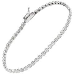 Very Impressive 1.15 Carat Natural Diamond 14 Karat Solid White Gold Bracelet
