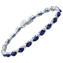 Very Impressive 13.50Ct Natural Sapphire & Diamond 14K Solid White Gold Bracelet