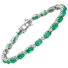 Very Impressive 14.60 Ct Natural Emerald & Diamond 14K Solid White Gold Bracelet