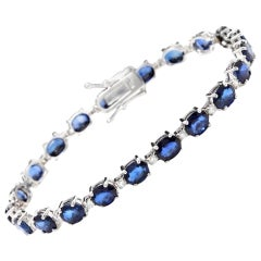 Very Impressive 16.24Ct Natural Sapphire & Diamond 14K Solid White Gold Bracelet