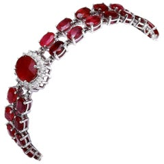 Very Impressive 23.30 Ct Natural Red Ruby &Diamond 14K Solid White Gold Bracelet