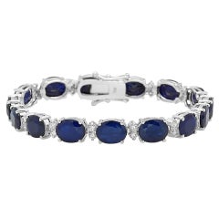 Very Impressive 29.50ct Natural Sapphire & Diamond 14 Karat Solid Gold Bracelet