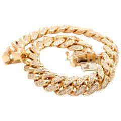 Very Impressive 6.00 Ct Natural Diamond 14K Solid Yellow Gold Men's Miami Cuban