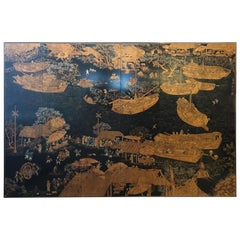 Very Impressive and Large Black and Gold Asian Painting