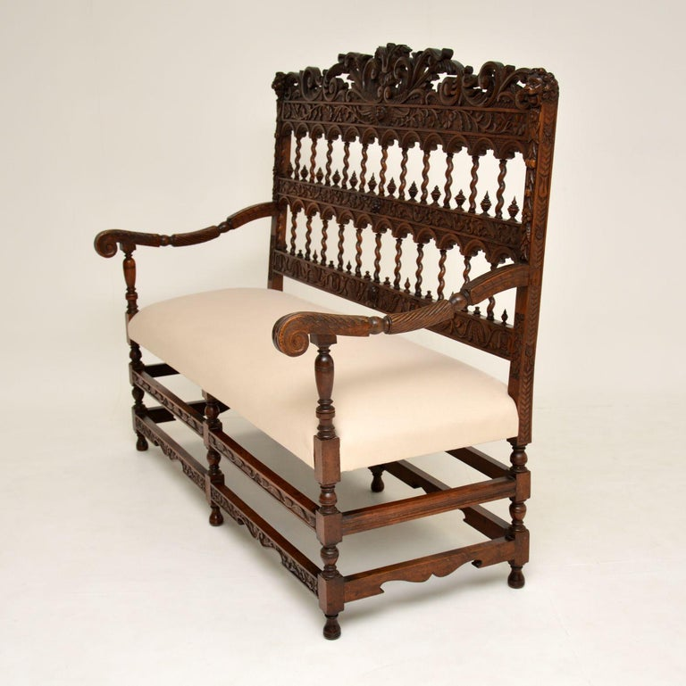 Very Impressive Antique Finely Carved Walnut Settee For Sale 4
