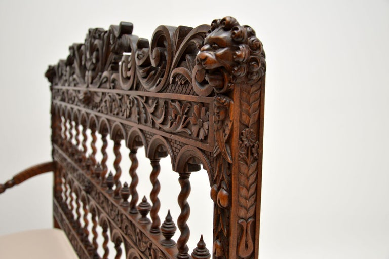 Very Impressive Antique Finely Carved Walnut Settee For Sale 5