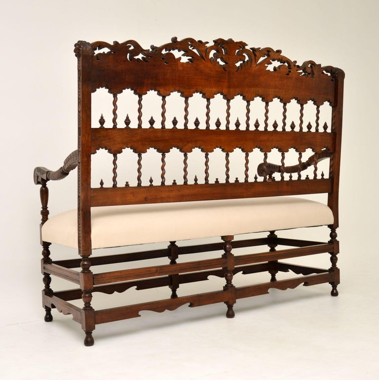 Very Impressive Antique Finely Carved Walnut Settee For Sale 6