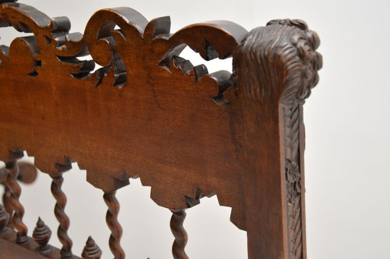 Very Impressive Antique Finely Carved Walnut Settee For Sale 8