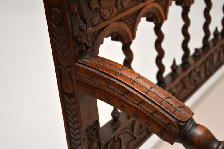 Very Impressive Antique Finely Carved Walnut Settee For Sale 9