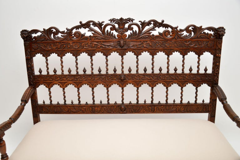 Moorish Very Impressive Antique Finely Carved Walnut Settee For Sale