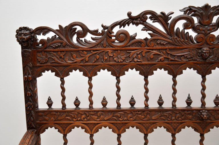 English Very Impressive Antique Finely Carved Walnut Settee For Sale