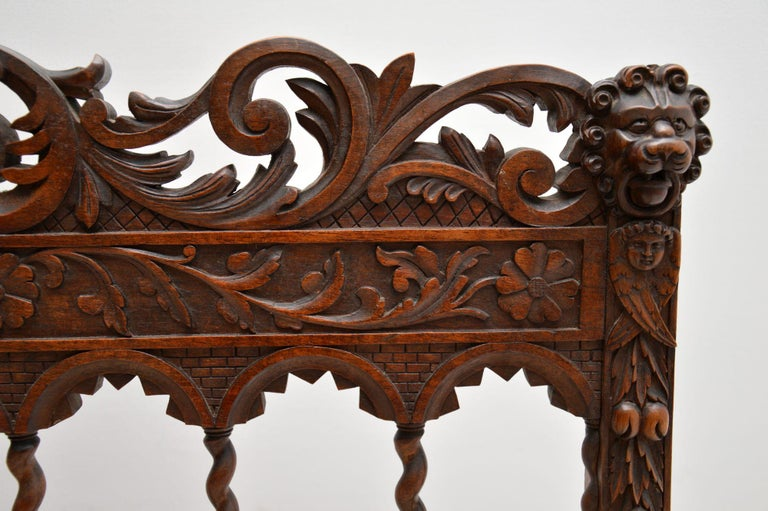 Very Impressive Antique Finely Carved Walnut Settee In Good Condition For Sale In London, GB