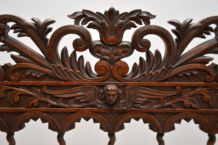 19th Century Very Impressive Antique Finely Carved Walnut Settee For Sale