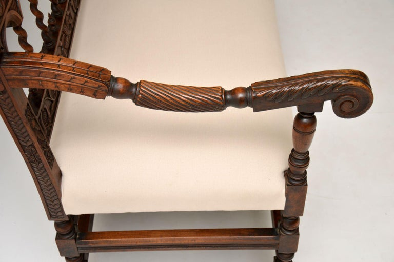 Very Impressive Antique Finely Carved Walnut Settee For Sale 2