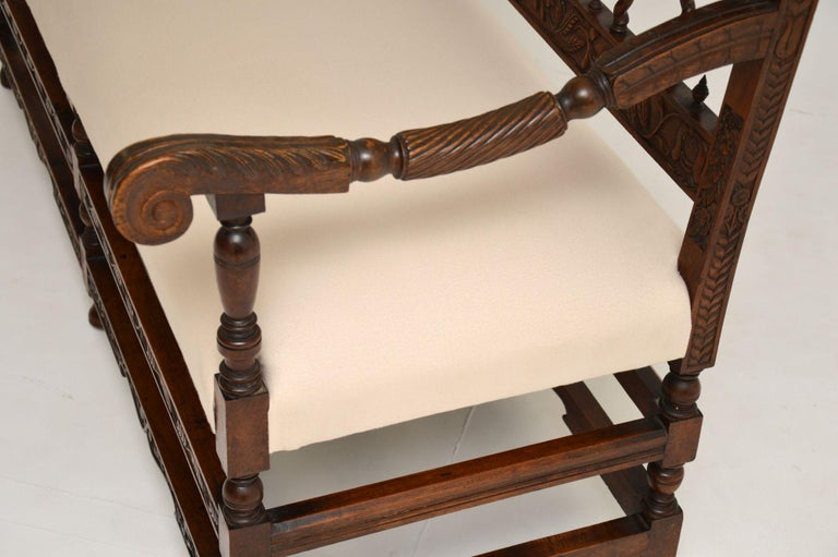 Very Impressive Antique Finely Carved Walnut Settee For Sale 3