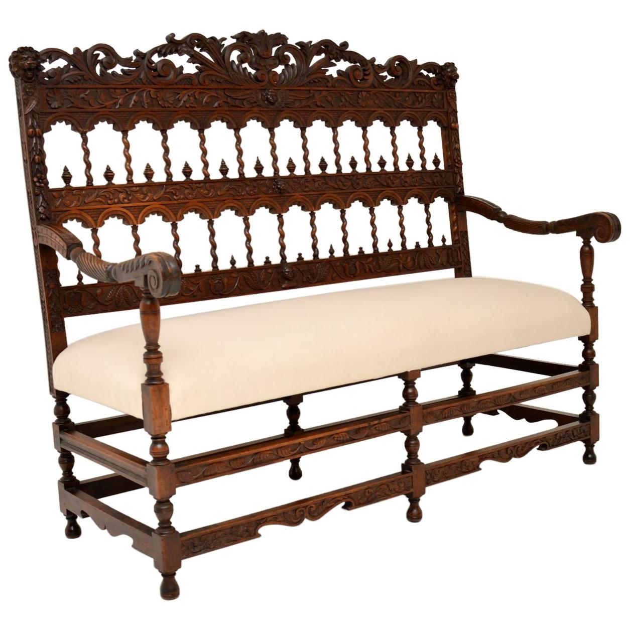 Very Impressive Antique Finely Carved Walnut Settee
