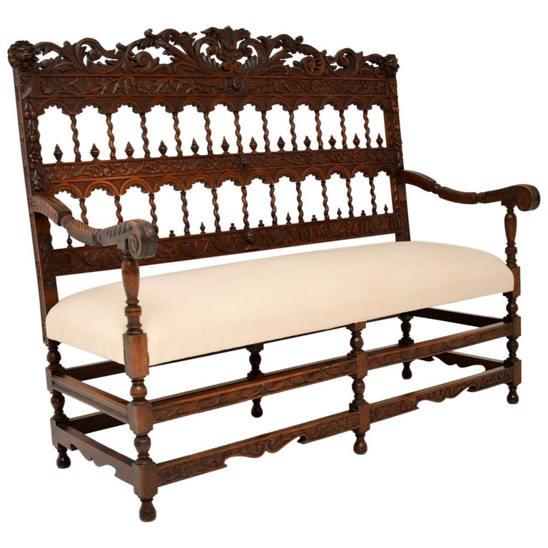 Very Impressive Antique Finely Carved Walnut Settee For Sale