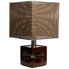 Very Interesting 1960s Italian Ceramic Table Lamp with Large Bast Basket Shade