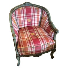 Very Inviting Plush French Provincial Style Painted & Upholstered Club Chair