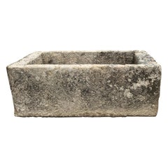 Very Large 18th C French Hand-Carved Limestone Trough