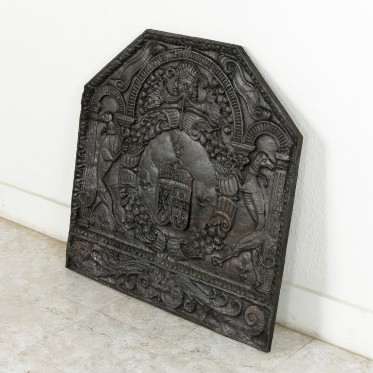 Cast Very Large 18th Century Louis XV Period French Iron Chateau Fireplace Back For Sale
