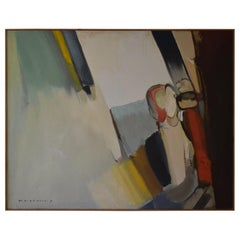 Very Large 1970s Abstract Oil on Canvass by Stanislaw Wisniewski
