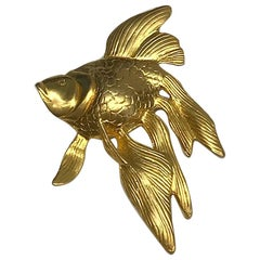 Very Large 1980s Satin Gold Fish Brooch / Pendant