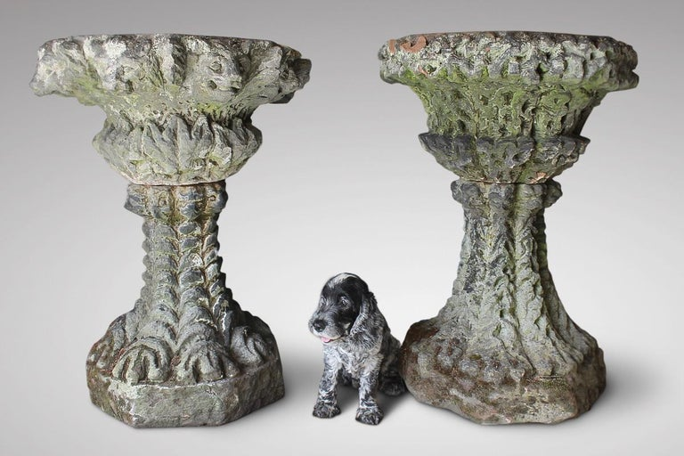 Very Large 19th Century Carved Stone Gothic Grotto Garden Urn Planter In Good Condition For Sale In Shustoke, GB