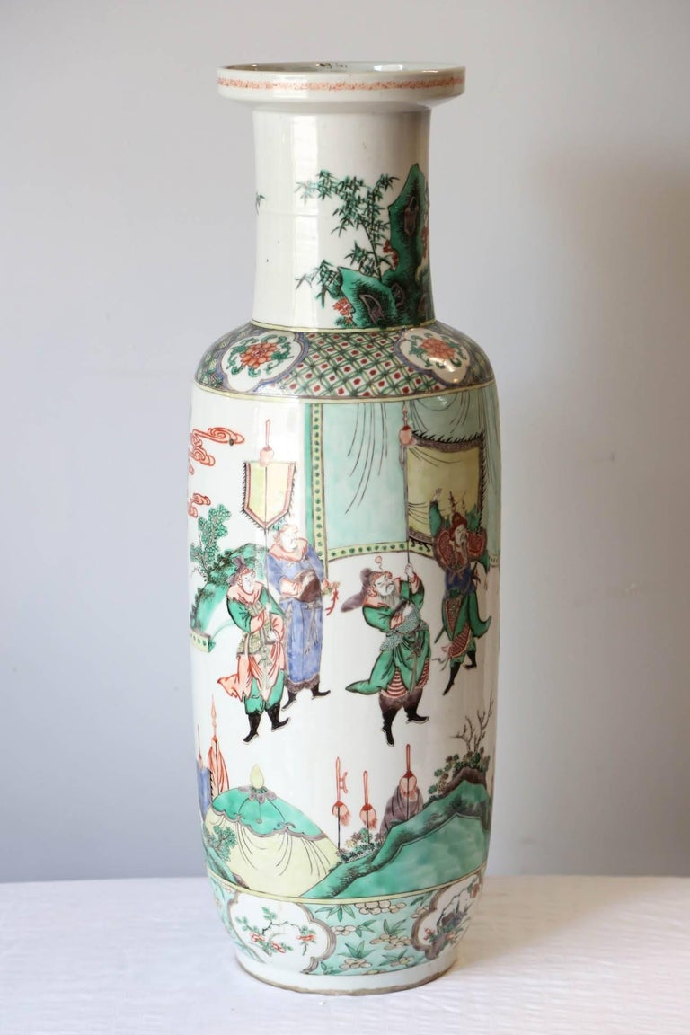 Qing Very Large 19th Century 'Famille Verte' Porcelain Rouleau Vase For Sale