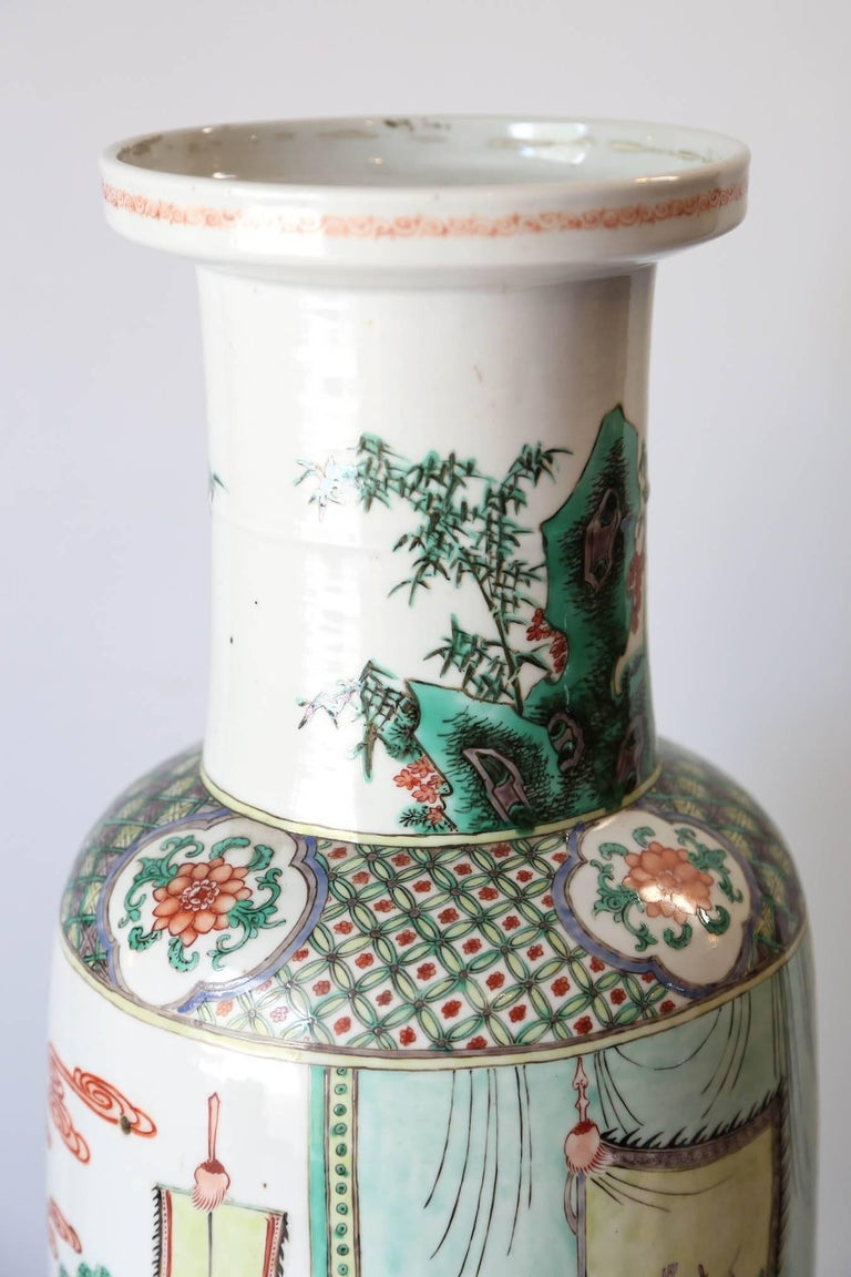 Enameled Very Large 19th Century 'Famille Verte' Porcelain Rouleau Vase For Sale