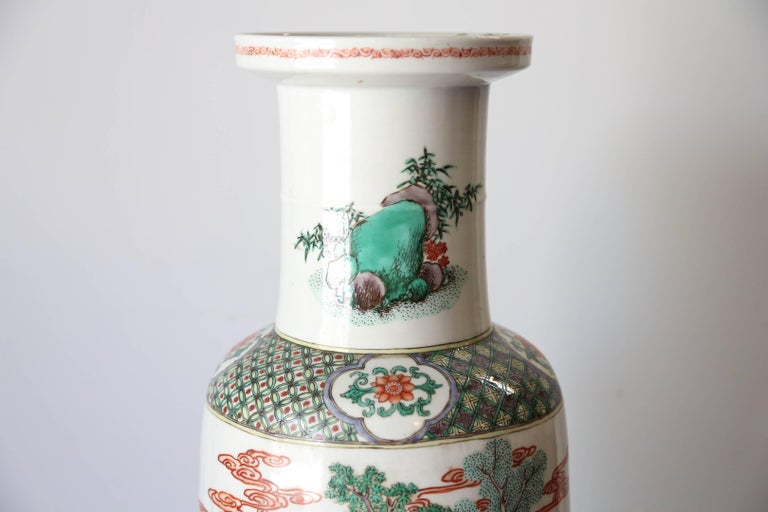 Ceramic Very Large 19th Century 'Famille Verte' Porcelain Rouleau Vase For Sale