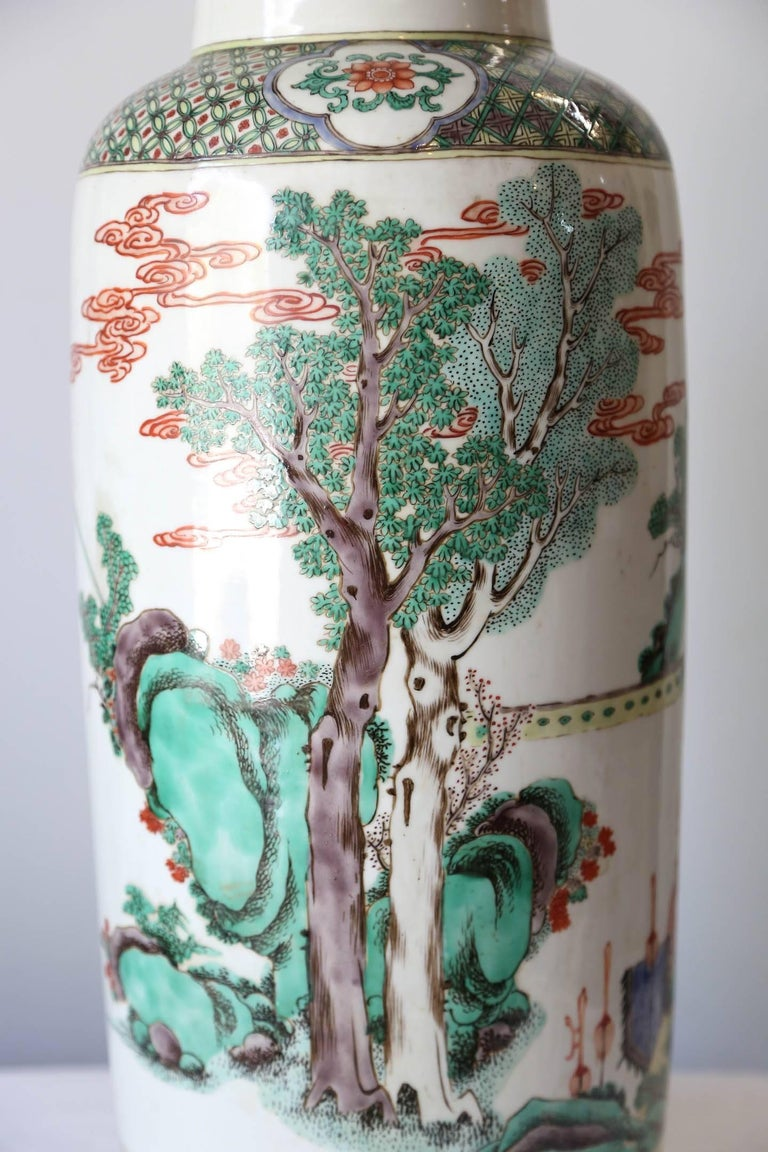 Very Large 19th Century 'Famille Verte' Porcelain Rouleau Vase For Sale 1