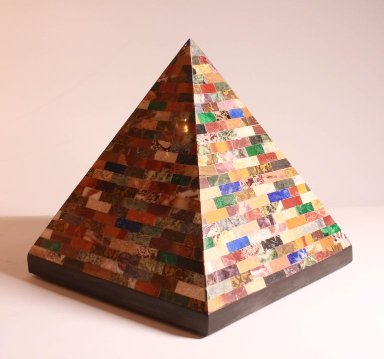 This fantastic specimen Pyramid dates from the second half of the 19th century, featuring a large selection of stones including Malachite and Lapis lazuli.