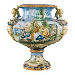 Very Large 19th Century Italian Maiolica Hand Painted Vase