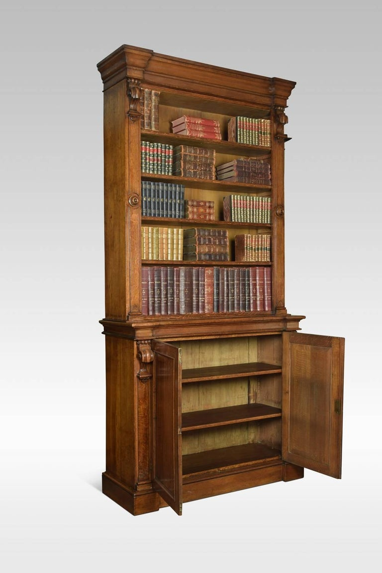 Victorian Very Large 19th Century Light Oak Bookcase For Sale