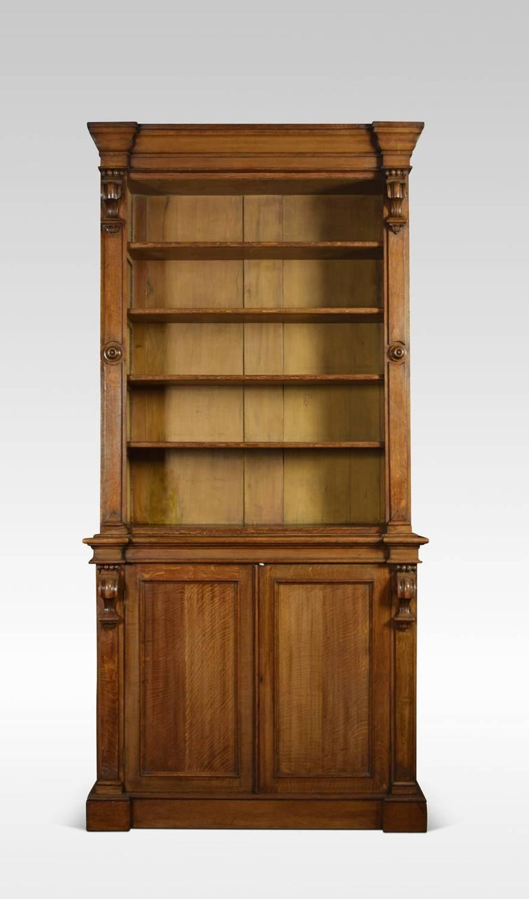 English Very Large 19th Century Light Oak Bookcase For Sale