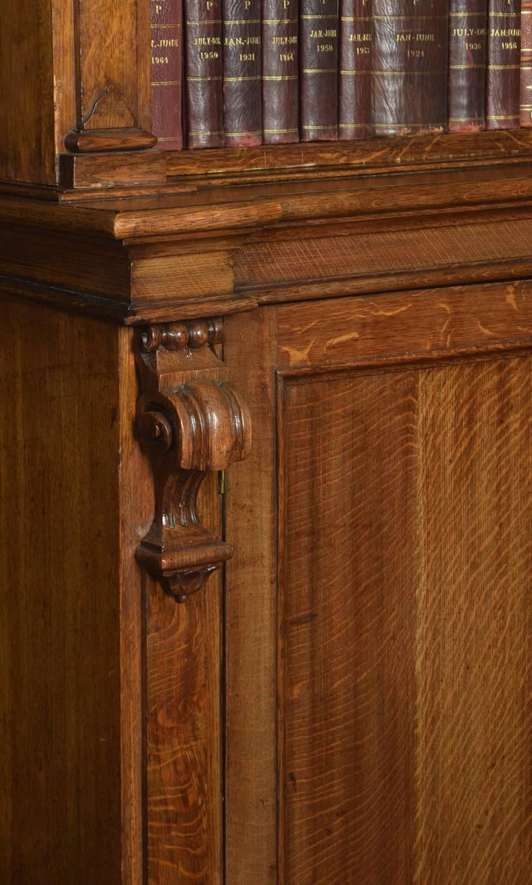 Very Large 19th Century Light Oak Bookcase For Sale 1